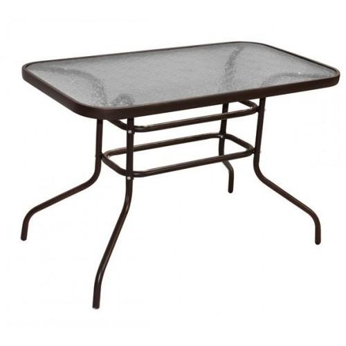 Τραπέζι μεταλλικό 100x60x70cm έπιπλα κήπου βεράντας καφε tb1004-1 ΕΠΙΠΛΑ ΚΗΠΟΥ