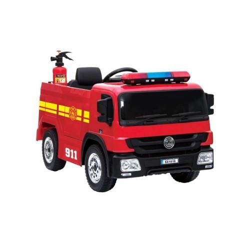 Ηλεκτροκίνητο Παιδικό Πυροσβεστικό Όχημα 12V με Αντλία Νερού, Κράνος και Πυροσβεστήρα σε Κόκκινο Χρώμα 911818