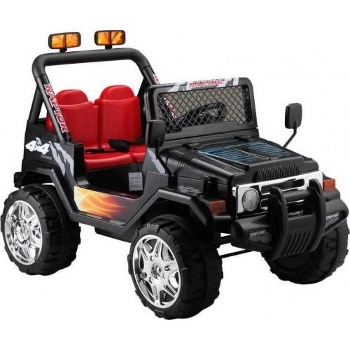Ηλεκτροκίνητο Παιδικό Αυτοκίνητο Διθέσιο- Jeep τύπου Wrangler 12V μαύρο με δερμάτινο κάθισμα και Ελαστικά BJ618 Ηλεκτροκίνητα αυτοκίνητα