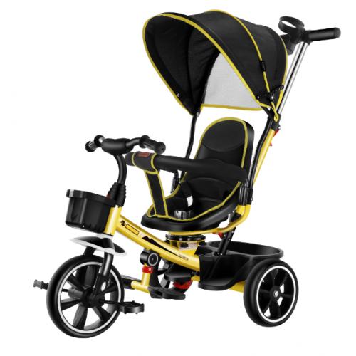 Παιδικό Τρίκυκλο Ποδήλατο με σκίαστρο και περιστρεφόμενο κάθισμα σε Κίτρινο χρώμα 60301