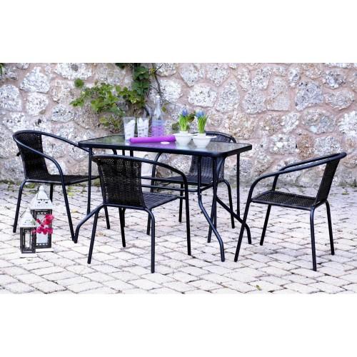 Σετ τραπεζαρία κήπου 100x60x71cm 5τμχ μεταλλική με επένδυση rattan μαύρο Dora 9779-100-5-2 ΕΠΙΠΛΑ ΚΗΠΟΥ