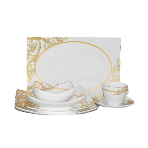 Σετ Πιάτα 37 Τεμαχίων Λευκό με Χρυσό σχέδιο Πορσελάνη  PL1801 ΕΙΔΗ ΚΟΥΖΙΝΑΣ