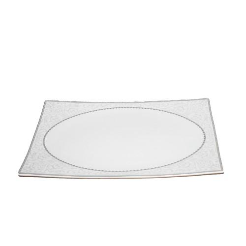 Σετ Πιάτα 37 Τεμαχίων Λευκό με Γκρι σχέδιο Πορσελάνη PL1803 ΕΙΔΗ ΚΟΥΖΙΝΑΣ