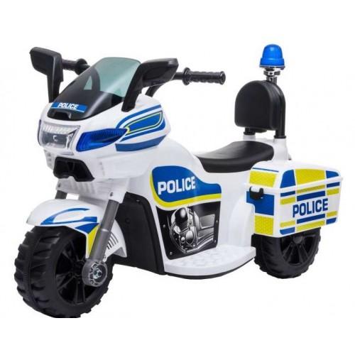 Ηλεκτροκίνητη παιδική μηχανή αστυνομίας 6V σε λευκό 170456