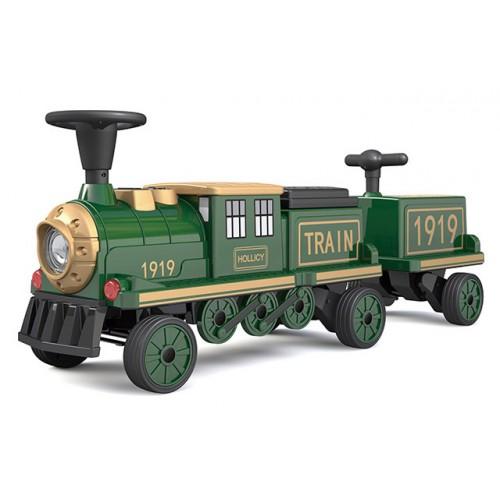 Ηλεκτροκίνητο Παιδικό Τραίνο με Δύο Βαγόνια και R/C σε Πράσινο Χρώμα 151919B Ηλεκτροκίνητα αυτοκίνητα