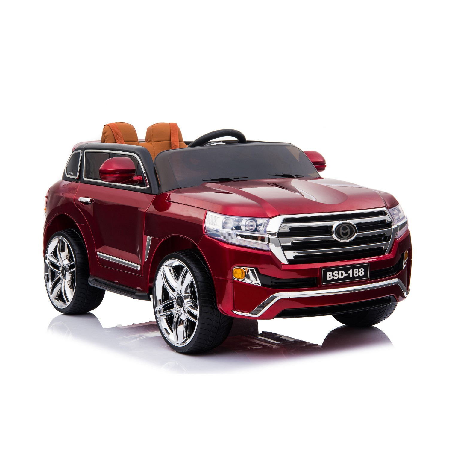 Style Toyota Land Cruiser 200 Electric Ride On Cars For Kids 12v Red Bsd 188 Leather And Eva Wheels