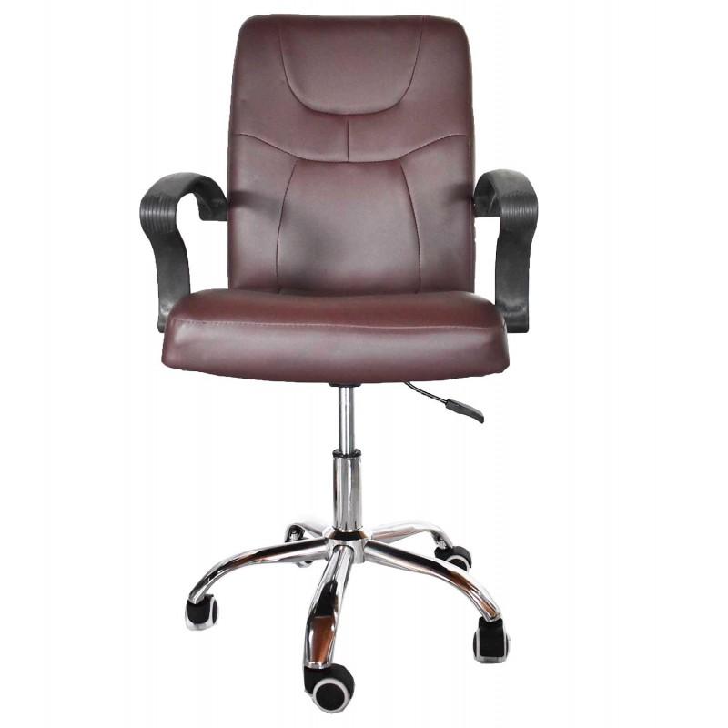 Καρέκλα γραφείου με PU Καφέ με μεταλλική βάση και ρυθμιζόμενο ύψος 36988 Καρέκλες Γραφείου