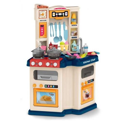 Παιδική Κουζίνα Μπλε με ήχους - φως και βρύση με νερό  Παιχνίδι Μίμησης  με αξεσουάρ, ράφια και ντουλάπια αποθήκευσης με διαστάσεις 78.5 x 57 x 30 εκ DK110B ΠΑΙΧΝΙΔΙΑ