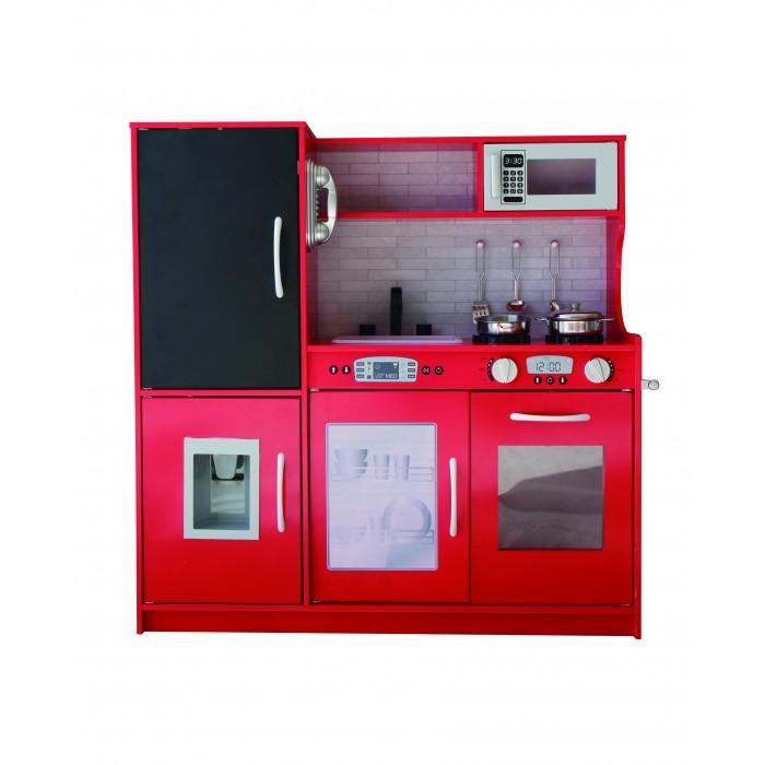 Ξύλινη Παιδική Κουζίνα Κόκκινη Παιχνίδι Μίμησης  με αξεσουάρ, ράφια και ντουλάπια αποθήκευσης με διαστάσεις 80x30x81cm 1337Α