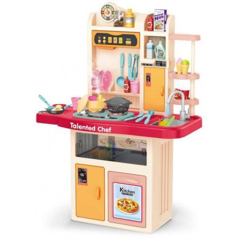 Παιδική Κουζίνα Κόκκινη με ήχους - φως και βρύση με νερό  Παιχνίδι Μίμησης  με αξεσουάρ, ράφια και ντουλάπια αποθήκευσης με διαστάσεις 97 x 70.5 x 31.5 εκ DK105 ΠΑΙΧΝΙΔΙΑ