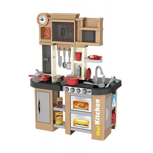 Παιδική Κουζίνα Μπεζ με ήχους - φως και βρύση με νερό  Παιχνίδι Μίμησης  με αξεσουάρ, ράφια και ντουλάπια αποθήκευσης με διαστάσεις 63 x 35 x 84 εκ DK2563 ΠΑΙΧΝΙΔΙΑ