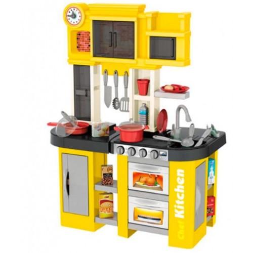 Παιδική Κουζίνα Κίτρινη με ήχους - φως και βρύση με νερό  Παιχνίδι Μίμησης  με αξεσουάρ, ράφια και ντουλάπια αποθήκευσης με διαστάσεις 63 x 35 x 84 εκ DK2563 ΠΑΙΧΝΙΔΙΑ