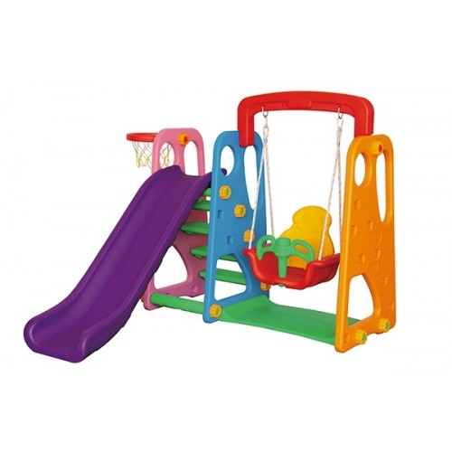 Πλαστική Παιδική Χαρά Τσουλήθρα μαζί με Κούνια και μπασκέτα  QC-05021 ΠΑΙΧΝΙΔΙΑ