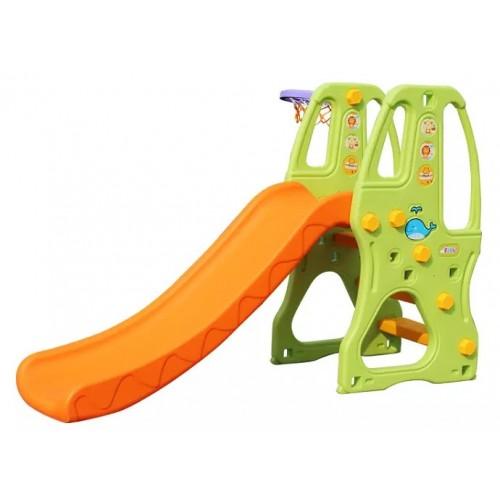 Πλαστική Παιδική Τσουλήθρα μαζί με Μπασκέτα Πράσινο - Πορτοκαλί Forall 6539 ΠΑΙΧΝΙΔΙΑ