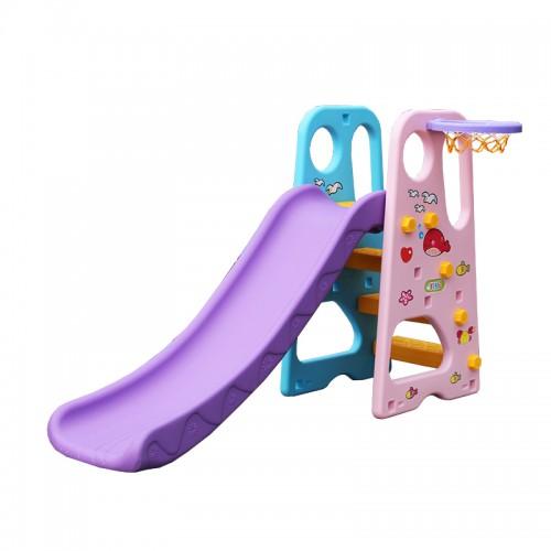Πλαστική Παιδική Τσουλήθρα μαζί με Μπασκέτα Ροζ - Μοβ - Γαλάζιο Forall 5789 ΠΑΙΧΝΙΔΙΑ