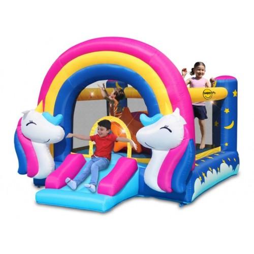 Happy Hop φουσκωτό τραμπολίνο Fantasy Unicorn  με Τσουλήθρα και φωτάκια 8004 ΠΑΙΧΝΙΔΙΑ