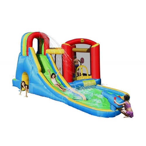 Happy Hop Φουσκωτό Τραμπολίνο με νεροτσουλήθρα και  πισίνα Splash Wave Fun Zone 9047N ΠΑΙΧΝΙΔΙΑ