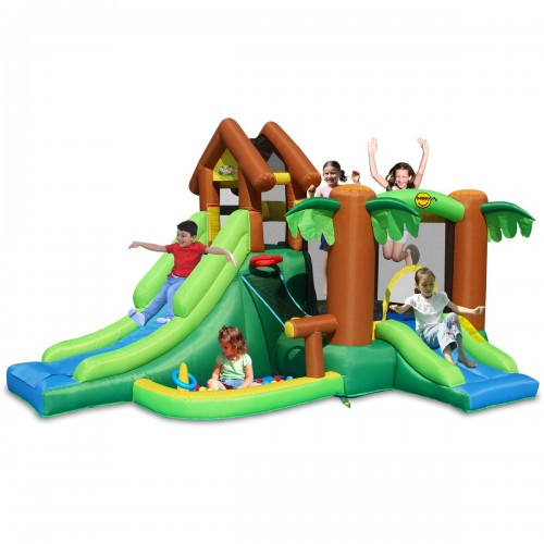 Happy Hop Φουσκωτό Τραμπολίνο  με Διπλή Τσουλήθρα The Forest Bouncer 9071F ΠΑΙΧΝΙΔΙΑ