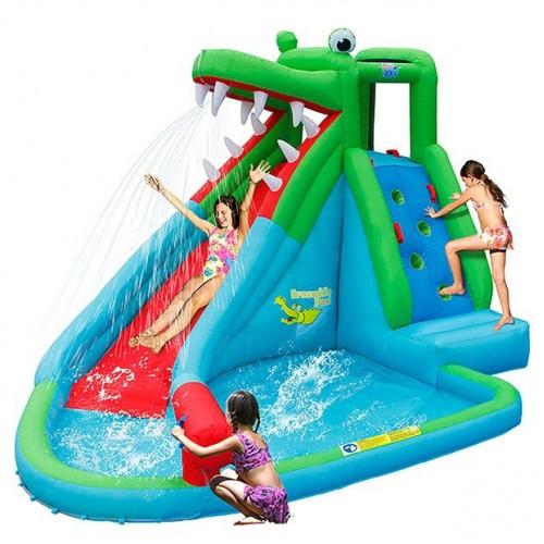Happy Hop Φουσκωτό Τραμπολίνο με Νεροτσουλήθρα και  πισίνα The Crocodile Pool 9240 ΠΑΙΧΝΙΔΙΑ