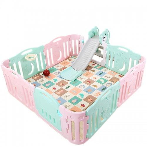 Πλαστικός Φράχτης για Παιδιά Αφαιρούμενη εσωτερική παιδική χαρά με τσουλήθρα παιδικό πάρκο με την καλύτερη ποιότητα και χαλάκι παιχνιδιού Forall 14474 ΠΑΙΧΝΙΔΙΑ