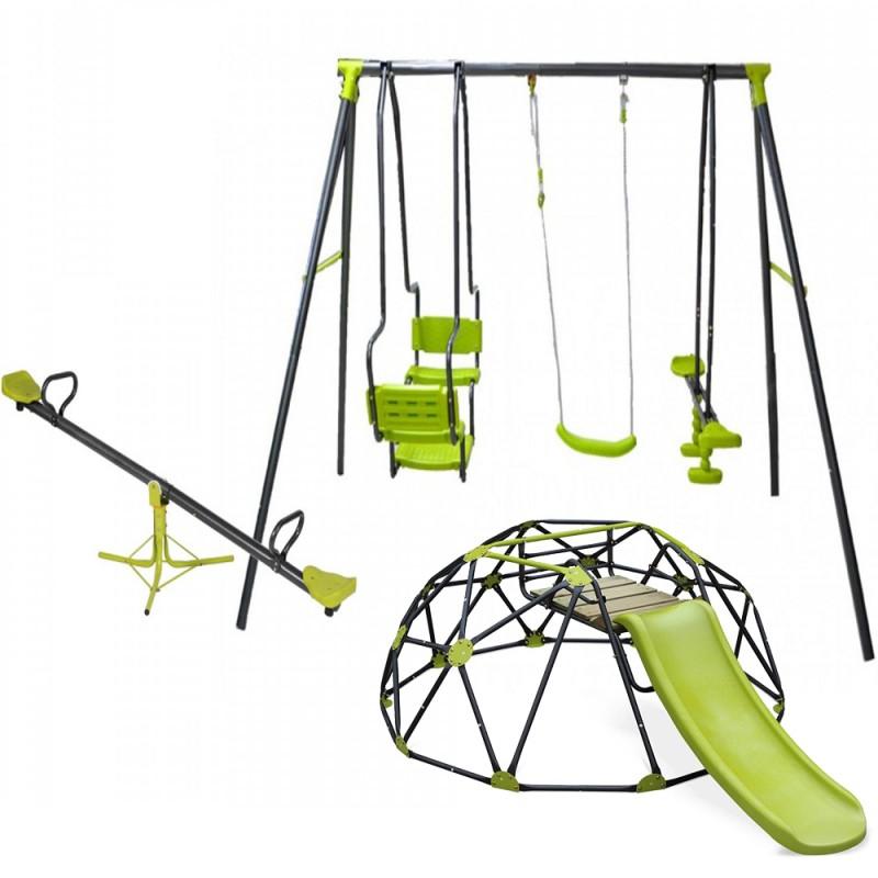 Σετ Κούνια Multiplay και θόλο αναρρίχησης δαπέδου με τσουλήθρα και τραμπάλα παιδική χαρά 5298-5001-5026