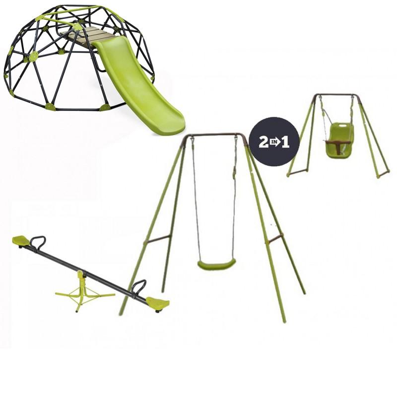 Σετ Παιδική Χαρά Κούνια 2 σε 1 με τραμπάλα και μεγάλο θόλο αναρρίχησης δαπέδου με τσουλήθρα  ΠΑΙΧΝΙΔΙΑ