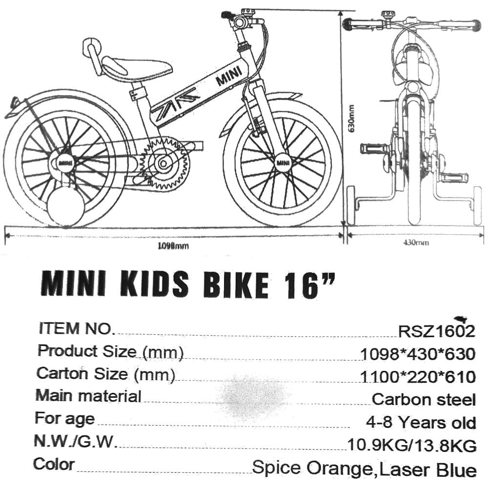 Παιδικό Ποδήλατο MINI Cooper Licensed 16 ίντσες σε Μπλε