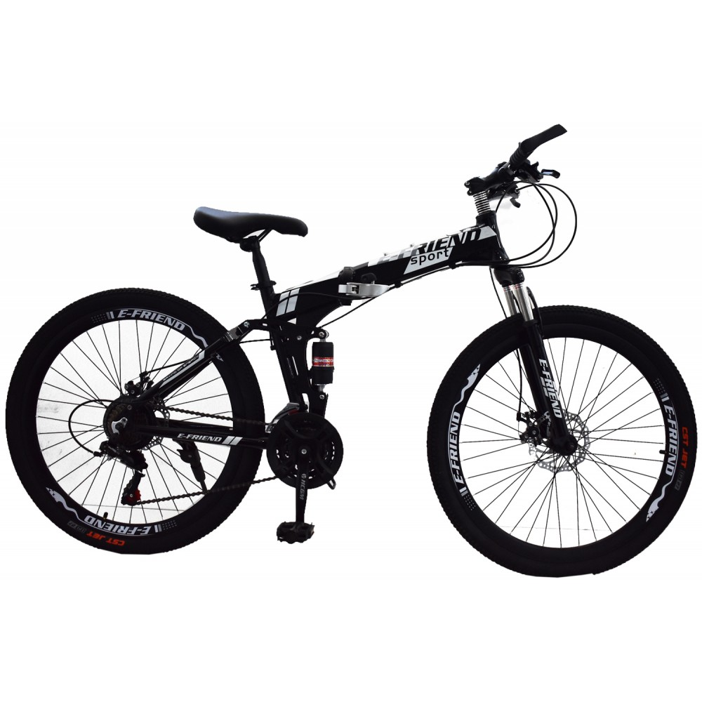 Ποδήλατο Σπαστό SPORT E-FRIEND SHIMANO Ταχύτητες 26 ίντσες σε Μαύρο - Λευκό