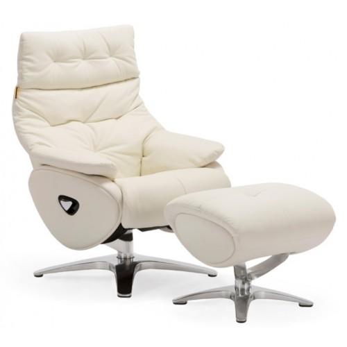Πολυθρόνα Relax με Περιστρεφόμενη βάση και υποπόδιο White L018 ALPHA136G  ΚΉΠΟΣ