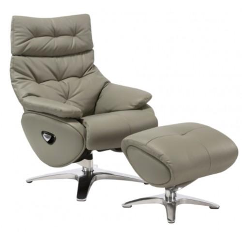 Πολυθρόνα Relax με Περιστρεφόμενη βάση και υποπόδιο Grey L015 ALPHA136G  ΚΉΠΟΣ