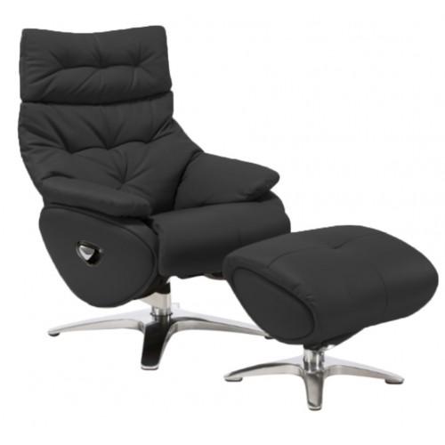 Πολυθρόνα Relax με Περιστρεφόμενη βάση και υποπόδιο Black L017 ALPHA136G  ΚΉΠΟΣ