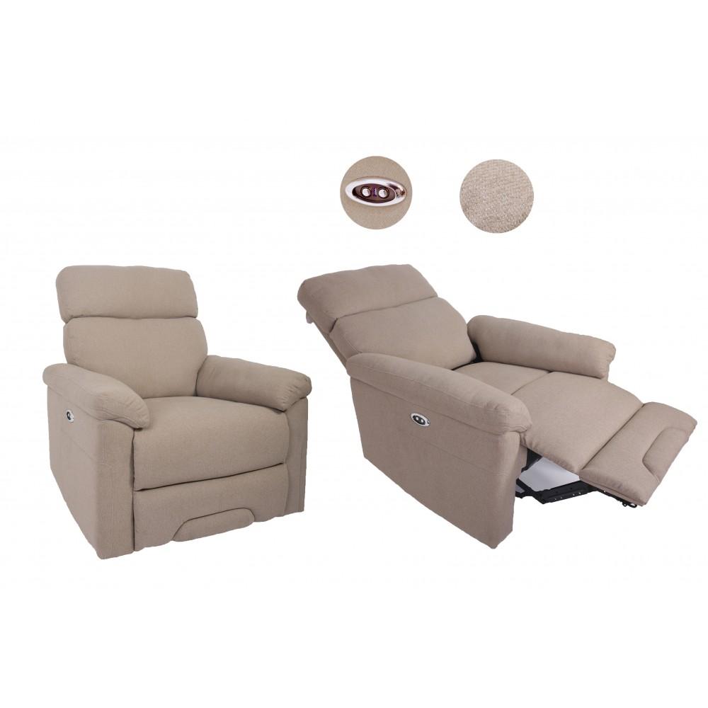 Reichan Αναπαυτική πολυθρόνα κρεβάτι Relax 3 θέσεων σε μπεζ χρώμα  104x93x92m