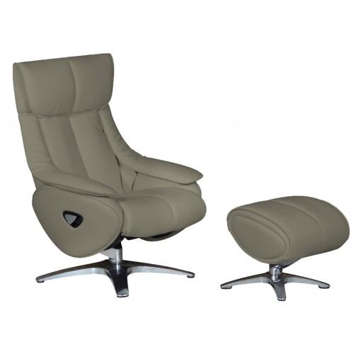 Πολυθρόνα Relax με Περιστρεφόμενη βάση και υποπόδιο Grey L015 ALPHA108G  ΚΉΠΟΣ