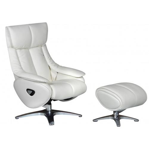 Πολυθρόνα Relax με Περιστρεφόμενη βάση και υποπόδιο White L018 ALPHA108G  ΚΉΠΟΣ