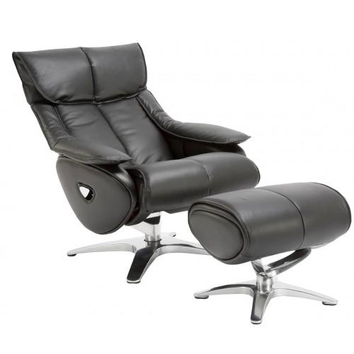 Πολυθρόνα Relax με Περιστρεφόμενη βάση και υποπόδιο Black L017 ALPHA108G  ΚΉΠΟΣ