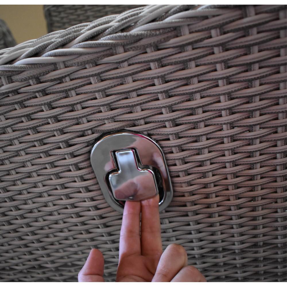 Σετ Gaso Dream 3 σε 1 Σαλόνι-Τραπεζαρία-Ξαπλώστρα κήπου 6 τεμαχίων Rattan Γκρι με μαξιλάρια και μηχανισμό ανάκλησης στην πλάτη 140-80-182