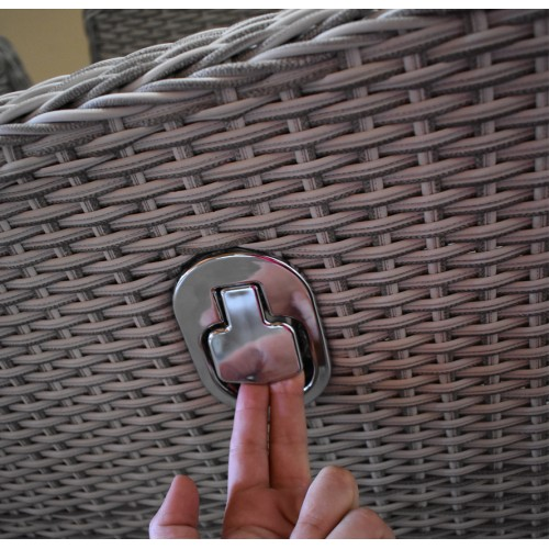 Σετ Gaso Dream 3 σε 1 Σαλόνι-Τραπεζαρία-Ξαπλώστρα κήπου 6 τεμαχίων Rattan Γκρι με μαξιλάρια και μηχανισμό ανάκλησης στην πλάτη 140-80-182 ΚΗΠΟΣ