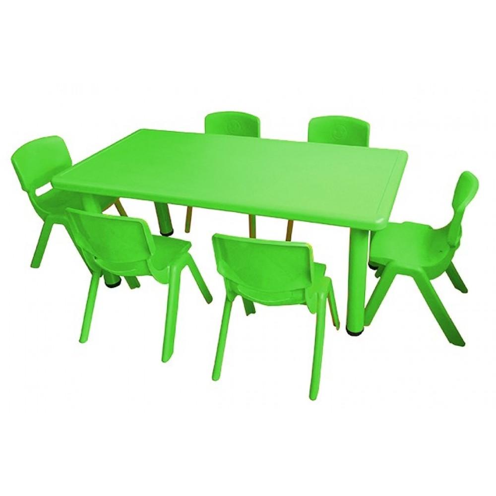 Σετ Παιδικό Τραπέζι πλαστικό με καρέκλες 7 τεμαχίων σε Πράσινο Μέντας χρώμα 02524004