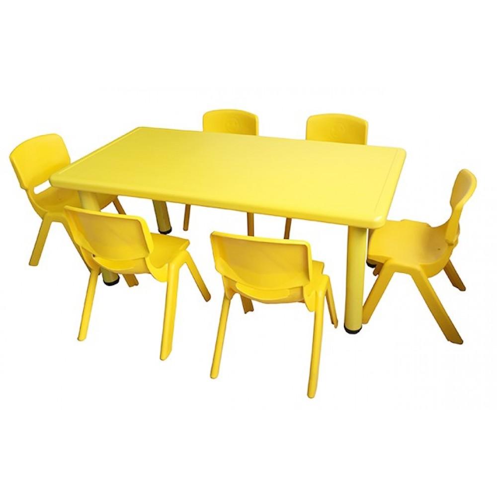 Σετ Παιδικό Τραπέζι πλαστικό με καρέκλες 7 τεμαχίων σε Κίτρινο χρώμα 02524004