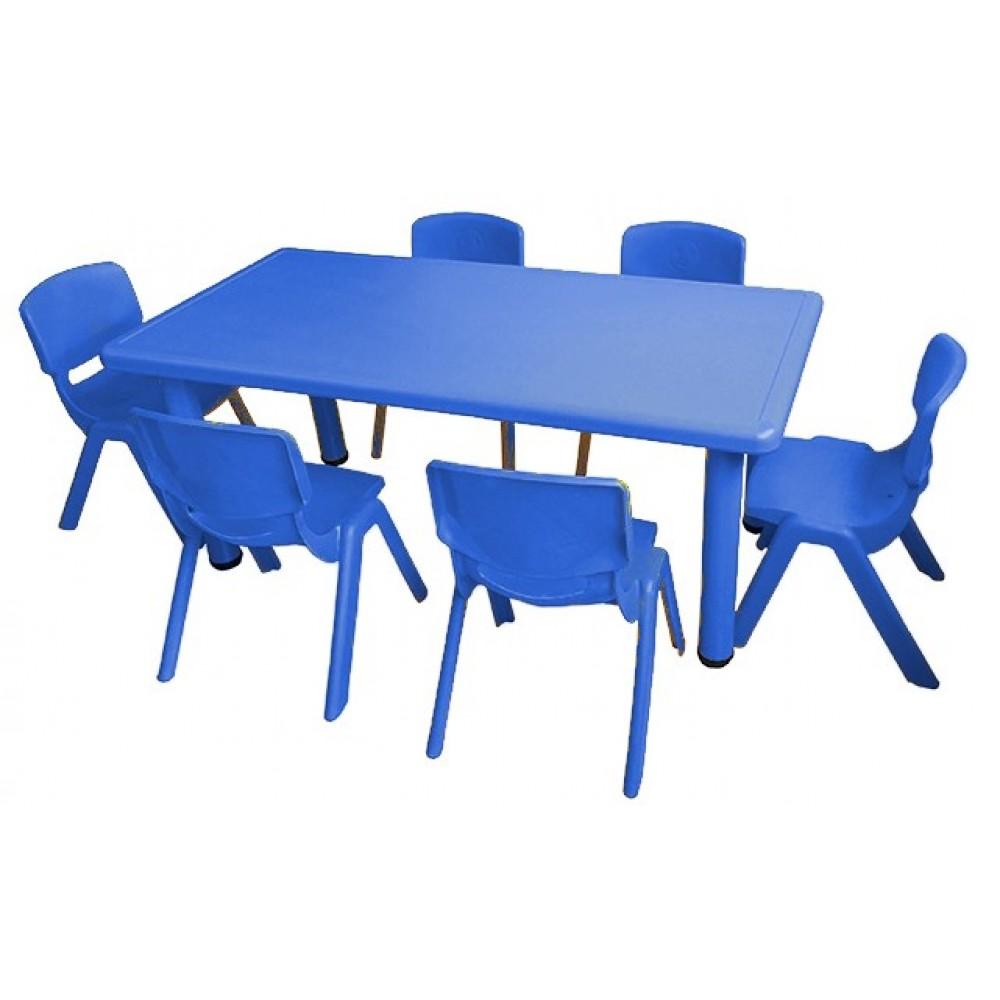 Σετ Παιδικό Τραπέζι πλαστικό με καρέκλες 7 τεμαχίων σε Μπλε χρώμα 02524004