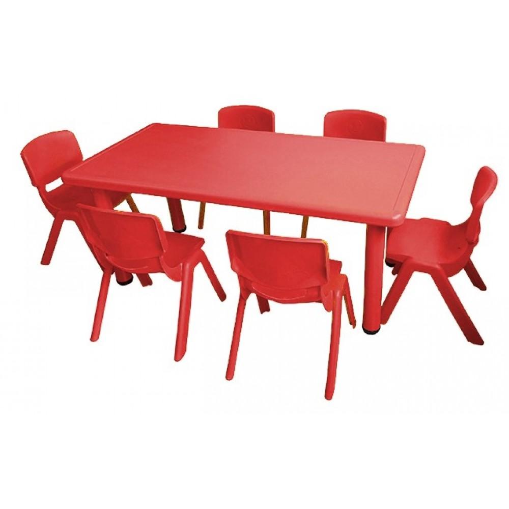 Σετ Παιδικό Τραπέζι πλαστικό με καρέκλες 7 τεμαχίων σε Κόκκινο χρώμα 02524004