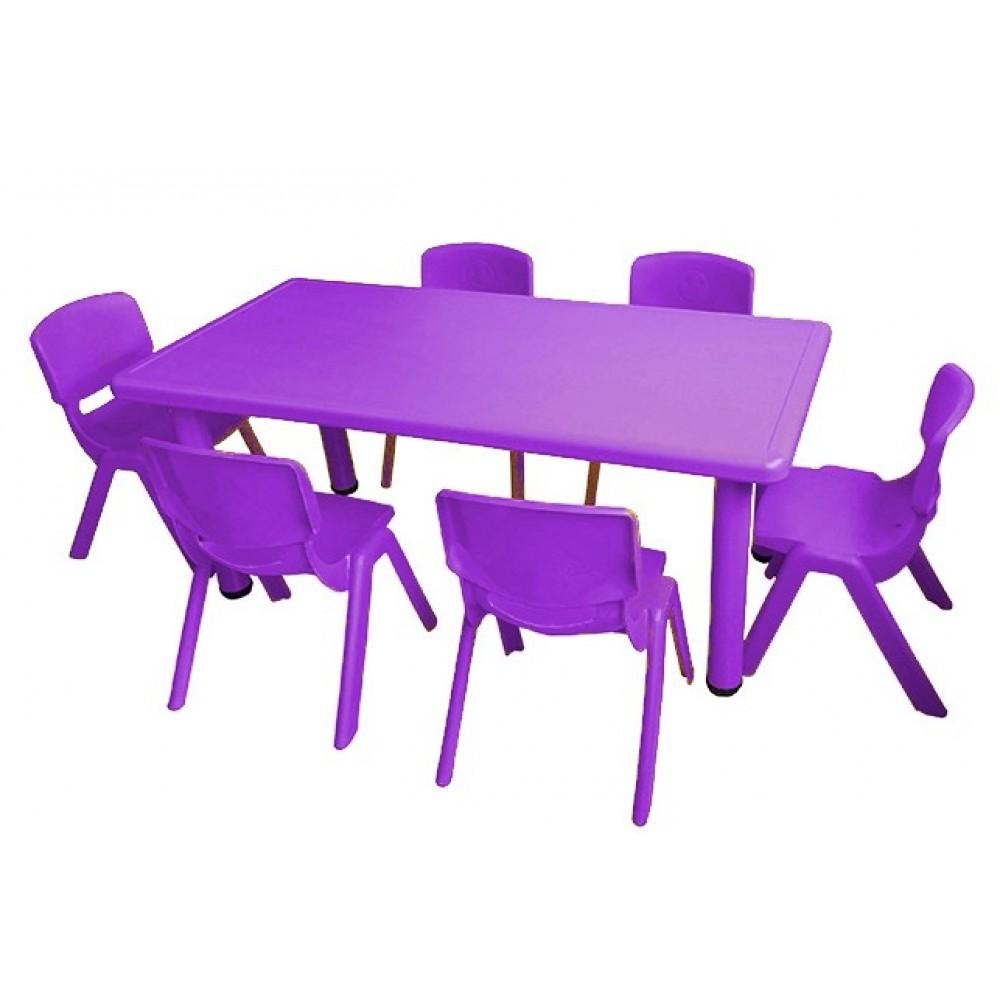 Σετ Παιδικό Τραπέζι πλαστικό με καρέκλες 7 τεμαχίων σε Μωβ  χρώμα 02524004