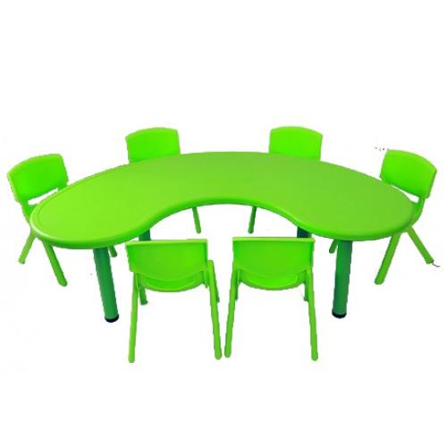 Σετ Παιδικό Τραπέζι πλαστικό μισοφέγγαρο με καρέκλες 7 τεμαχίων σε Πράσινο χρώμα 02624004 ΠΑΙΧΝΙΔΙΑ