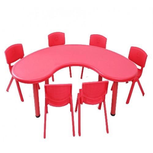 Σετ Παιδικό Τραπέζι πλαστικό μισοφέγγαρο με καρέκλες 7 τεμαχίων σε Κόκκινο χρώμα 02624004 ΠΑΙΧΝΙΔΙΑ