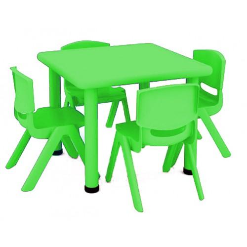 Σετ Παιδικό Τραπέζι πλαστικό τετράγωνο με καρέκλες 5 τεμαχίων σε Πράσινο χρώμα 02514004 ΠΑΙΧΝΙΔΙΑ