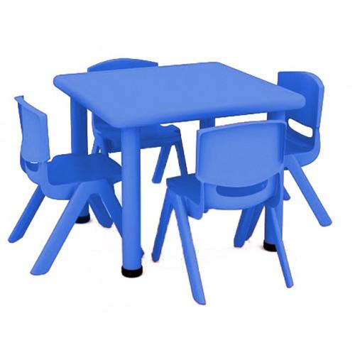 Σετ Παιδικό Τραπέζι πλαστικό τετράγωνο με καρέκλες 5 τεμαχίων σε Μπλε χρώμα 02514004 ΠΑΙΧΝΙΔΙΑ